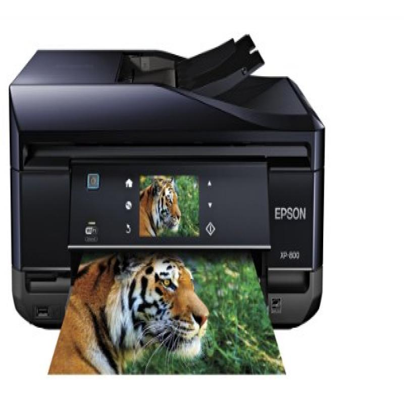 Epson Expression Premium Photo XP-800 Small-in-One Wireless Color Inkjet Printer, Copier, Fax, and Scanner with auto 2 sided scanning, copying, and printing. Prints from Tablet/Smartphone. AirPrint Co
