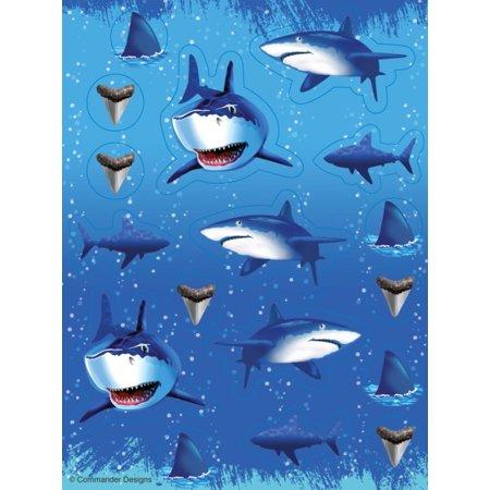 Club Pack of 96 Blue Shark Splash Stickers 5.5
