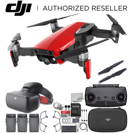 (DJI Mavic Air Drone Quadcopter (Flame Red) + DJI Goggles FPV Headset (Racing Edition) VR FPV POV Experience Ultimate Bundle)