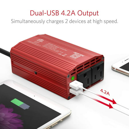 BESTEK 300W Power Inverter DC 12V to 110V AC Car Inverter with 4.2A Dual USB Car Adapter, Red - image 2 of 7