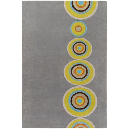 2' x 3' Colorful Bullseye Olive Oil and Gray Hand Tufted Wool Area Throw Rug ()