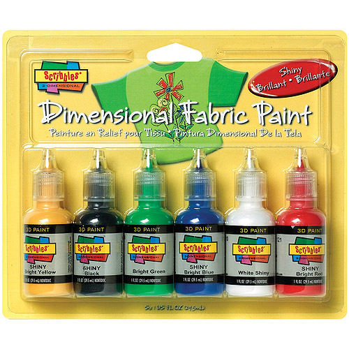 Scribbles 3D Fabric Paint, 1 oz, 6/pkg