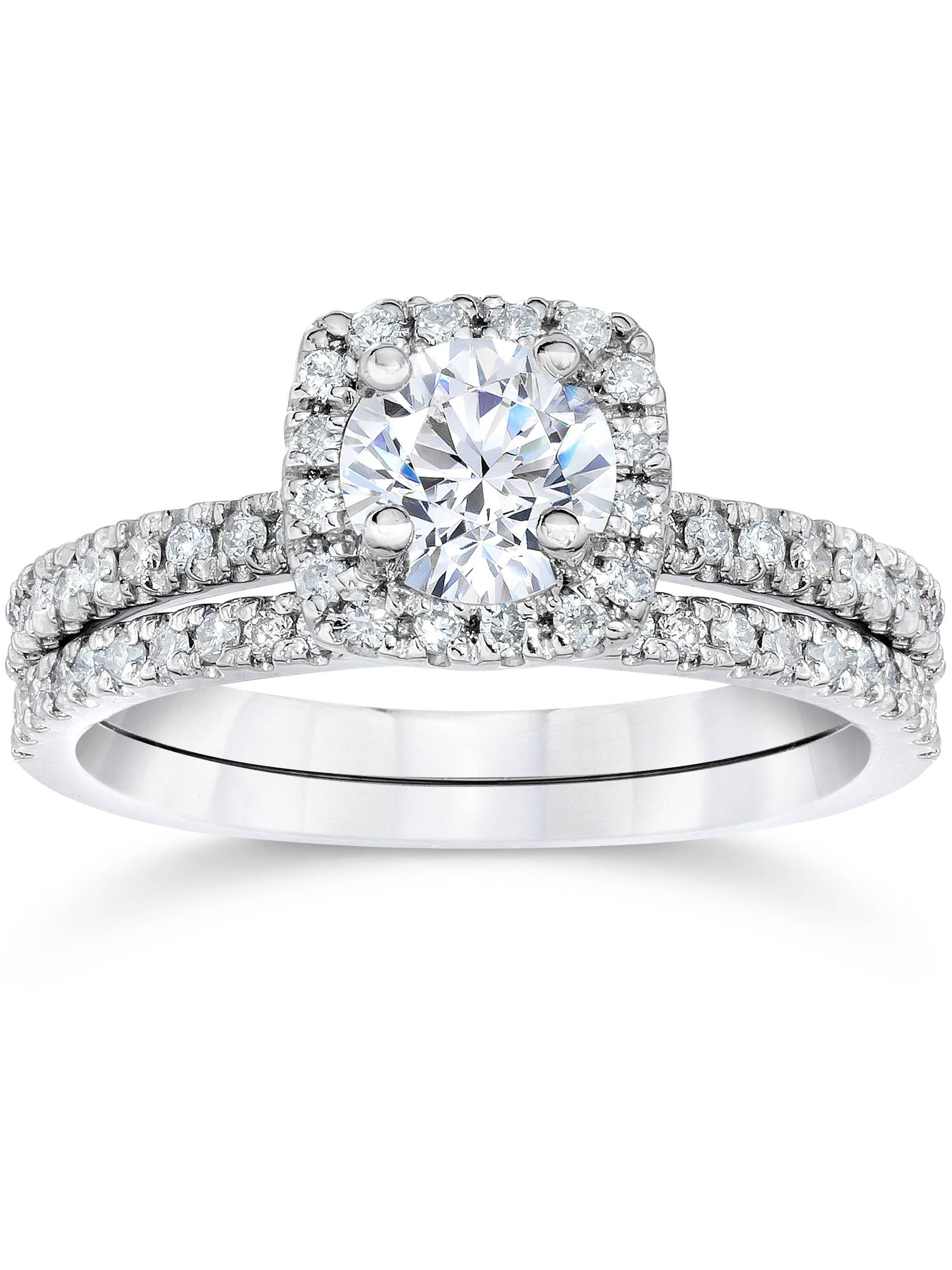 5 8Ct Cushion Halo Real Diamond Engagement Wedding Ring Set White Gold by Pompeii3