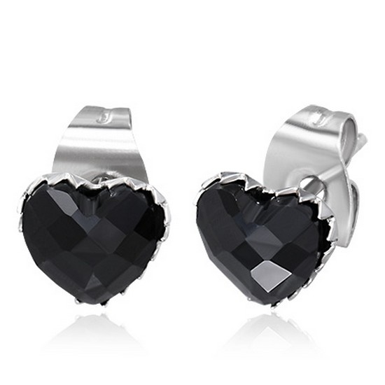 Stainless Steel Black CZ Faceted Love Heart-Shaped Womens Girls Stud Earrings