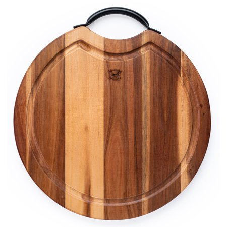 Superior Trading Co. Acacia Wood Cutting Board with Steel Handle. 14 in.