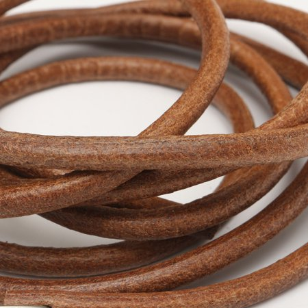 """72"""" Brown Leather Belt With Metal Hook For Treadle Singer Sewing Machine -3/16"""" Diameter - image 3 of 6"""