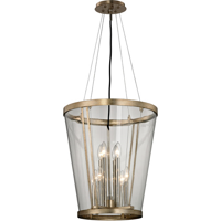 Pendants 8 Light With Champagne Silver Leaf Finish Hand-Worked Iron and Blown Glass Material Candelabra 21 inch Long 480 Watts
