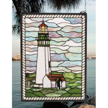 Meyda Tiffany 55949 Stained Glass Tiffany Window from the Sailboats & Lighthouses (Stained Glass Sailboat)