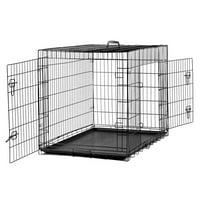 """UBesGoo 48"""" Pet Kennel Cat Dog Folding Steel Crate Animal Playpen Wire Metal Two doors"""