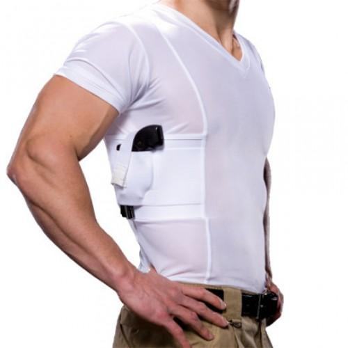 Undertech Undercover V-Neck Concealment Holster Shirt,White