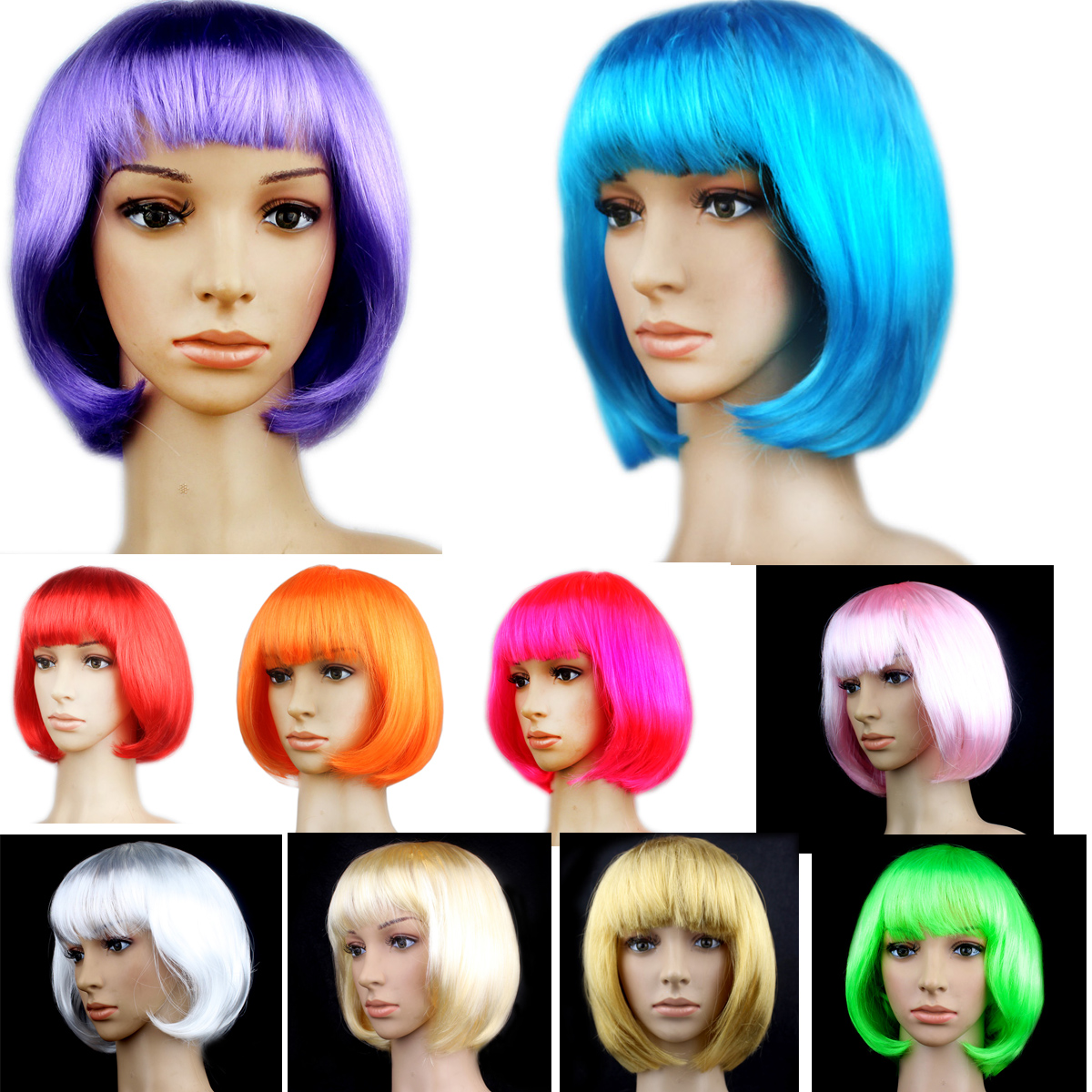 15 Colors Lady Girl Bob Hair Women's Short Straight Hairpiece Bangs Full Hair Cosplay Party