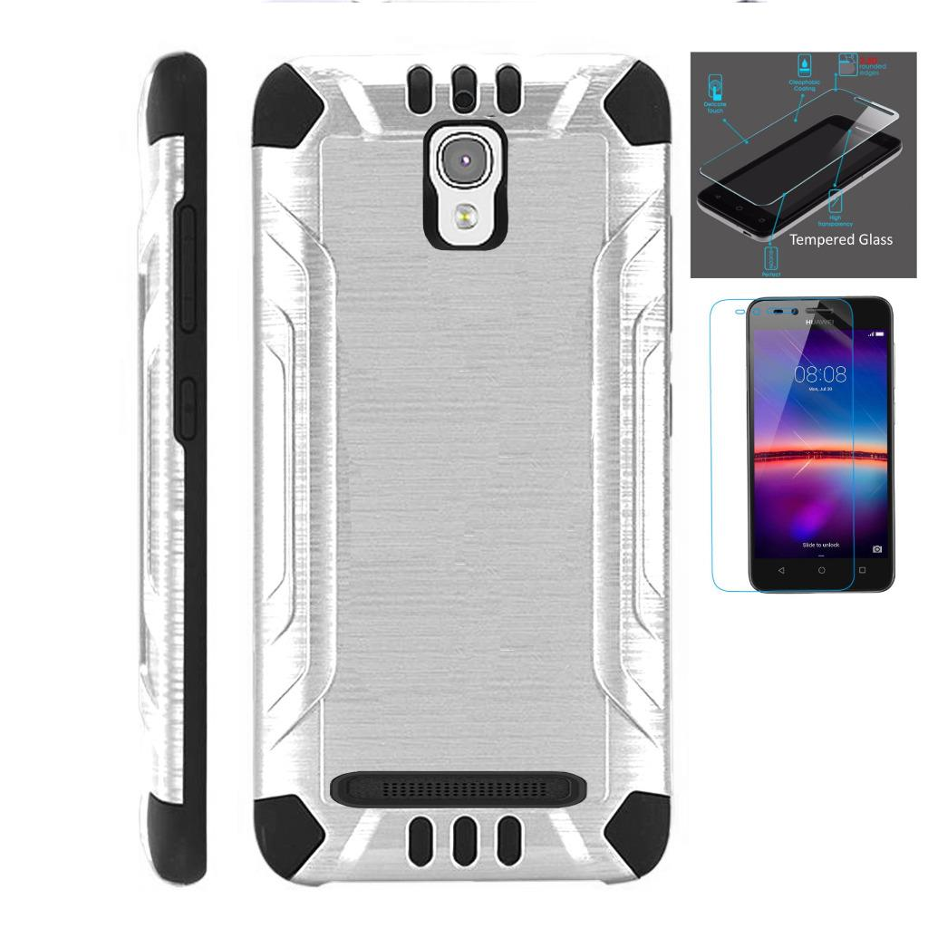 For Coolpad Canvas / Coolpad Splatter Case + Tempered Glass Slim Dual Layer Brushed Metal Texture High Impact Armor Hybrid TPU Combat Phone Cover (Silver/Black)