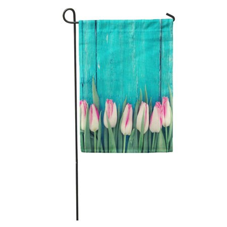 - LADDKE Tulips on Turquoise Rustic Wooden Spring Flowers for Valentine Day Woman and Mother Top View Garden Flag Decorative Flag House Banner 12x18 inch