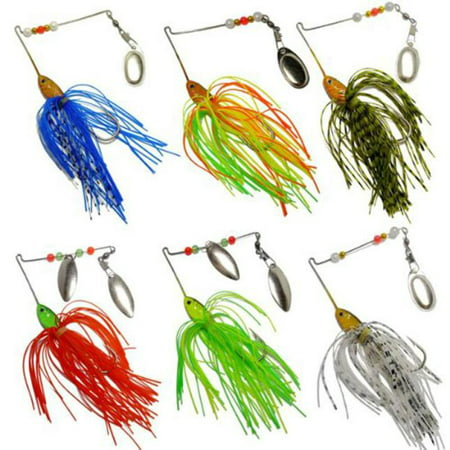 Mosunx?6pcs Fishing Hard Spinner Lure Spinnerbait Pike Bass