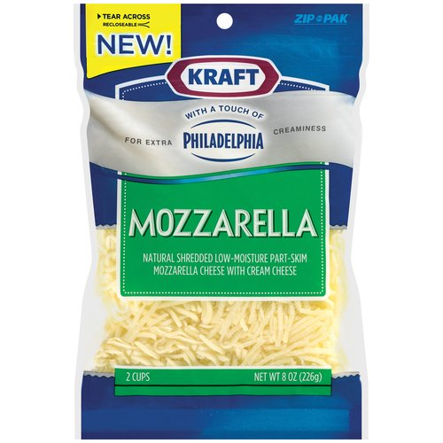 Kraft Natural Shredded Mozzarella Cheese With A Touch Of Philadelphia Cream Cheese, 8 oz