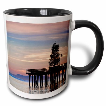 3dRose CA, Santa Barbara, Stearns Wharf - US05 WBI1085 - Walter Bibikow - Two Tone Black Mug, (Eco Friendly Dry Cleaners Santa Barbara Ca)