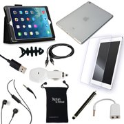 DigitalsOnDemand ® 11-Item Accessory Bundle for Apple iPad Air 5G 5th Gen - Leather Case, TPU Cover, Screen Protector, USB Cables + Chargers