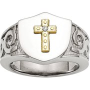 Stainless Steel with 10kt Gold Cross and .02 Carat T.W. Diamond Polished Ring, Available in Multiple Sizes