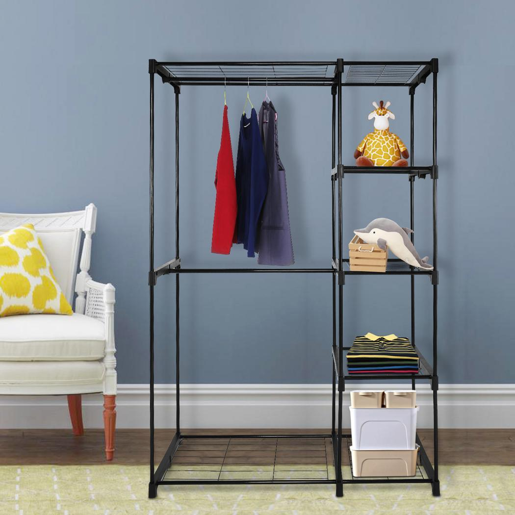 Deluxe Double Rod Closet Space Saving Closet Organizer Closet Wardrobe Black