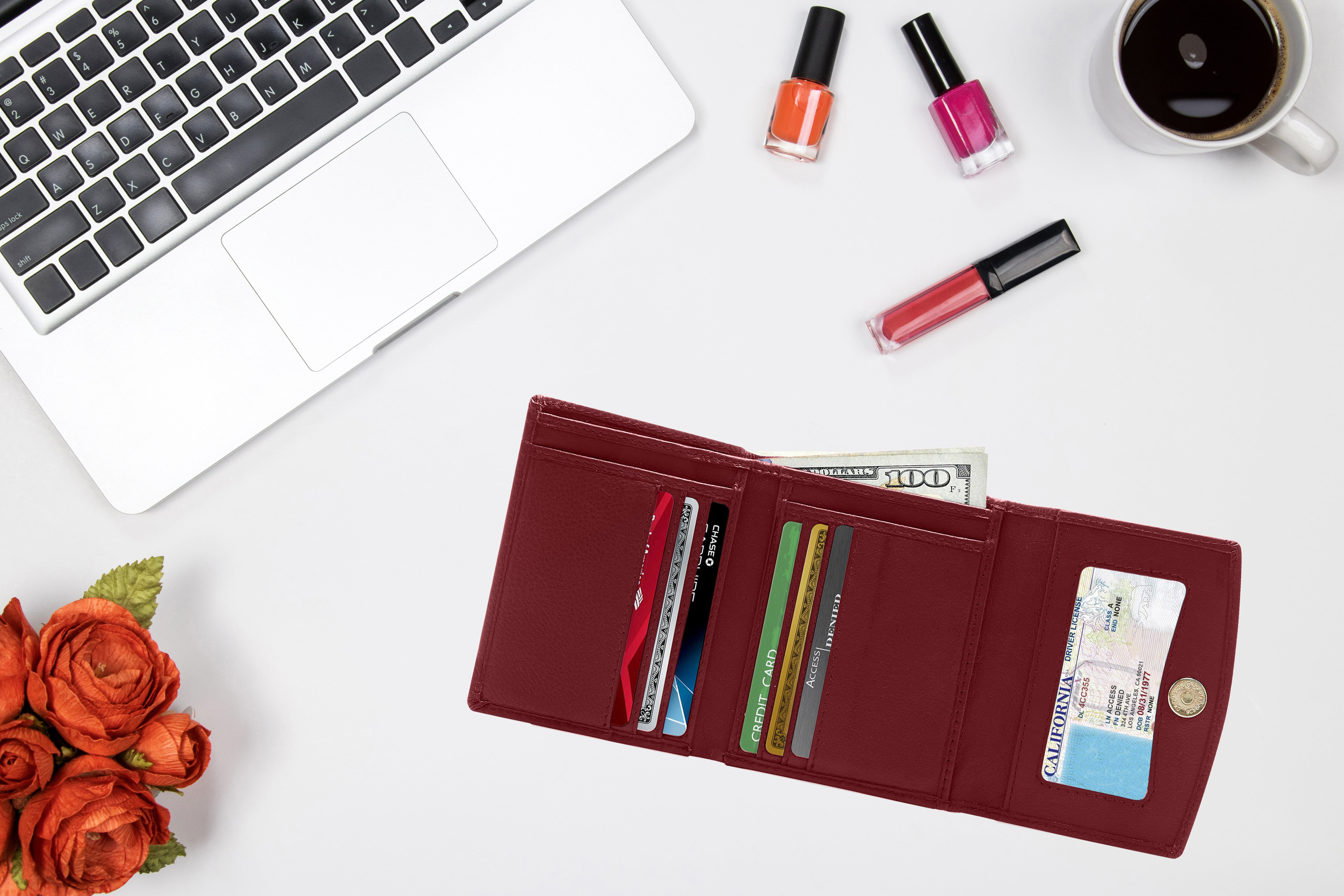 Small Trifold Wallets For Women - Credit Card Holder With Coin Purse RFID  Blocking Gifts For Her