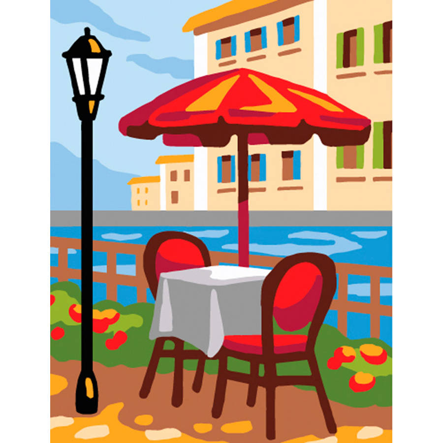 Collection D'Art Stamped Needlepoint Kit, 20cm x 25cm, Summer Cafe