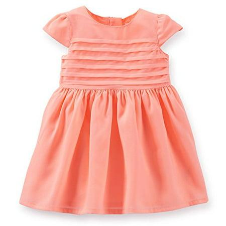 Little Girls' Crepe Pintuck Dress (2T, Pink)