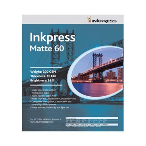 "Matte 60 Single Sided Bright White Inkjet Paper, 10 mil., 200gsm., 17x22"", 250 Sheets"