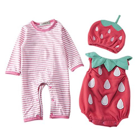 StylesILove Chic Halloween Baby Boy 3-PC Costume Set With Hat (6-12 Months, Strawberry) - Make Your Own Baby Costumes For Halloween