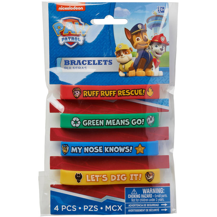PAW Patrol Rubber Bracelets, 4 Count, Party Supplies