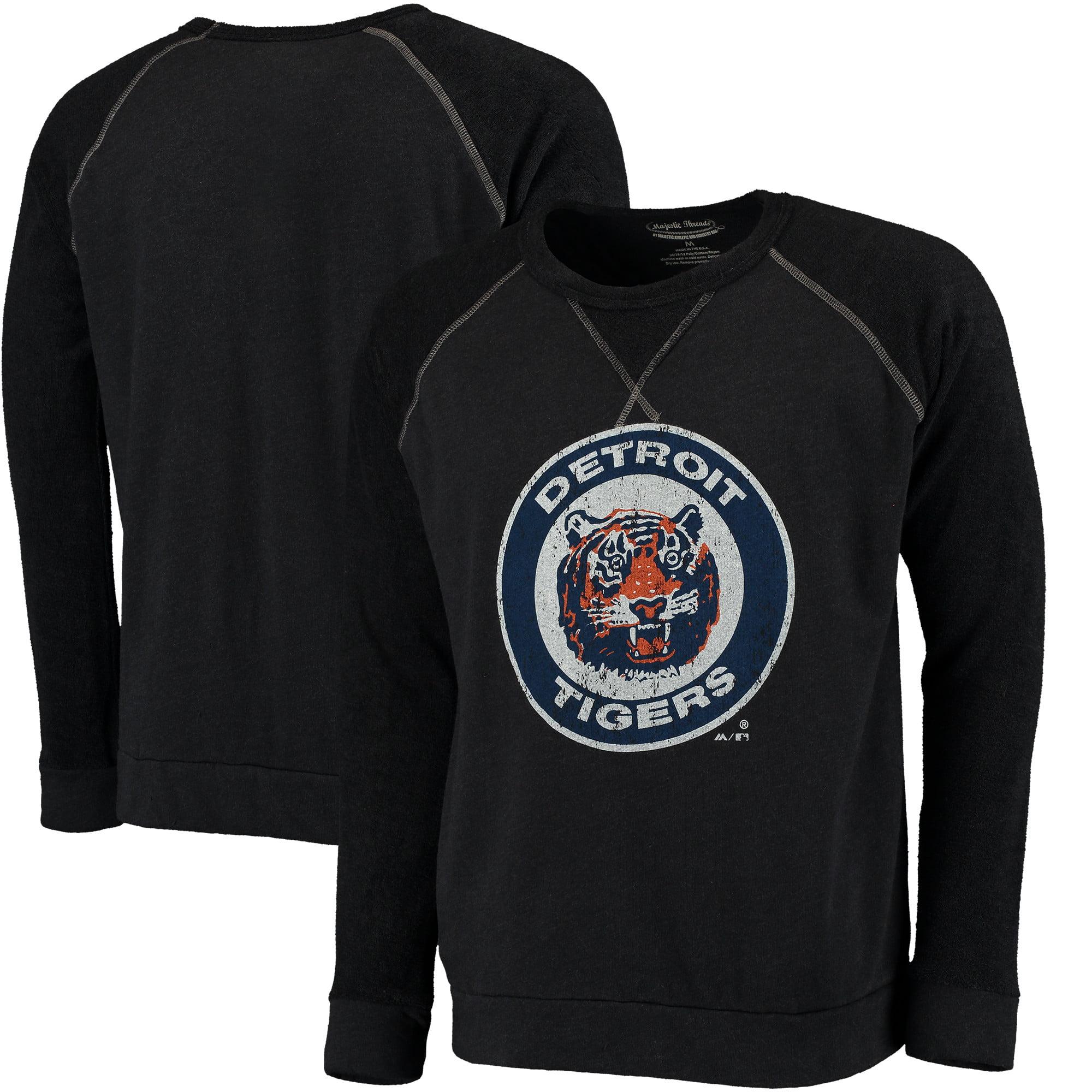 Detroit Tigers Majestic Threads Vintage Terry Crew Raglan Sweatshirt - Navy
