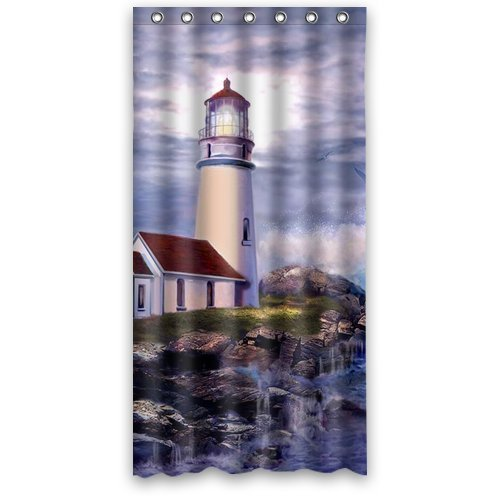 HelloDecor It Sea Lighthouse Cottage House Stall Shower Curtain Polyester Fabric Bathroom Decorative Curtain Size 36x72 Inches