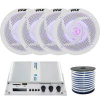 "4 x Pyle 5.25"" 2-Way Marine 180W Audio Stereo LED Speakers, Pyle 4-Channel Bridgeable Compact Boat Yacht Waterproof 400W RMS Amplifier, Enrock Marine-Grade 18-Gauge Speaker Wire"