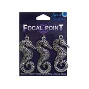 Sweet Beads Focal Pt Pendant Mtl Seahorse Slv 3pc