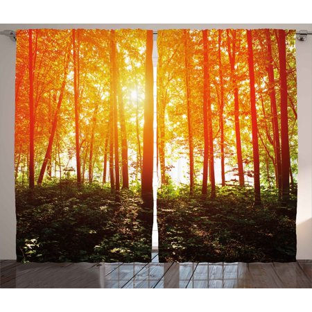 Nature Curtains 2 Panels Set, Foggy Forest Scenery with Sunrays Reflecting on Trees Mystic Woodland Image, Window Drapes for Living Room Bedroom, 108W X 84L Inches, Orange Fern Green, by Ambesonne ()