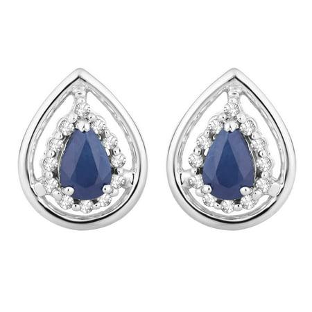 10k White Gold Sapphire & 1/8 Carat T.W. Diamond Teardrop - Gold Sapphire Diamond Drop