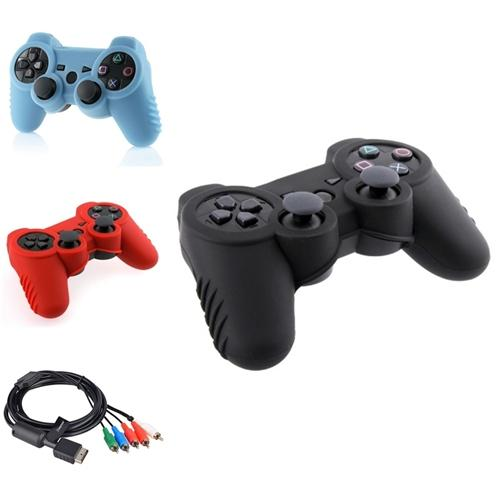 Insten 3x Silicone Case + Component AV Cable For Sony PS3 Slim
