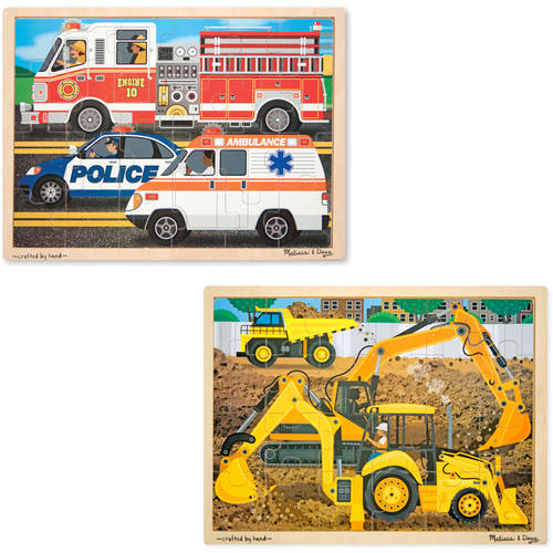 Melissa & Doug Vehicles Wooden Jigsaw Puzzles Set, Construction and Rescue, 24pc by Generic