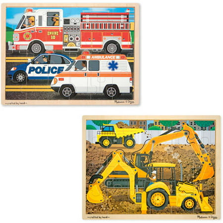 Melissa & Doug Vehicles Wooden Jigsaw Puzzles Set, Construction and Rescue, 24pc](Melissa And Doug Jigsaw Puzzles)