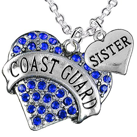 Coast Guard Sister Heart Necklace, Hypoallergenic, WILL NOT IRRITATE Anyone With Sensitive Skin. Safe- Nickel, Lead, Cadmium Free ()