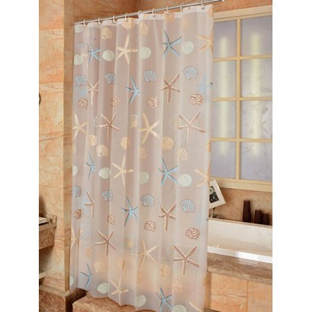 Newstar Round Circle Pattern Shower Curtains Liner For Bathroom Lightweight Fabric With Hooks