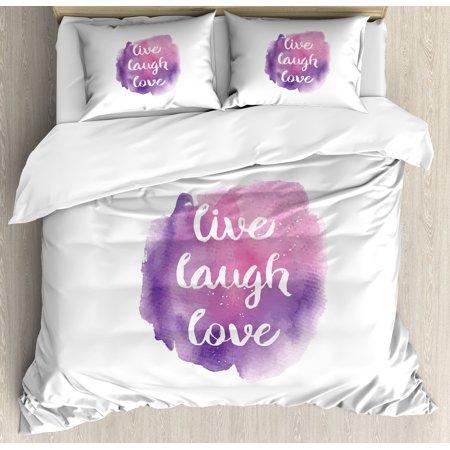 Live Laugh Love King Size Duvet Cover Set Watercolor