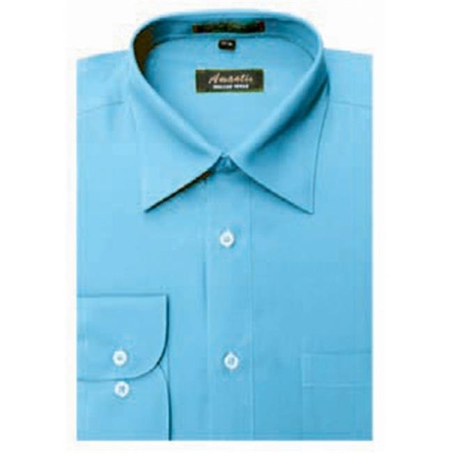 Amanti CL1016-17 1-2x34-35 Amanti Mens Wrinkle Free Turquoise Dress Shirt - Turquoise-17 1-2 x 34-35
