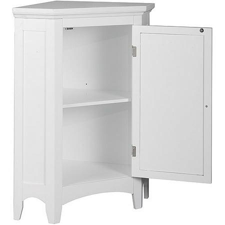 Elegant Home Fashions Slone 1-Door Corner Floor Cabinet in White Image 2 of  7 - Elegant Home Fashions Slone 1-Door Corner Floor Cabinet In White