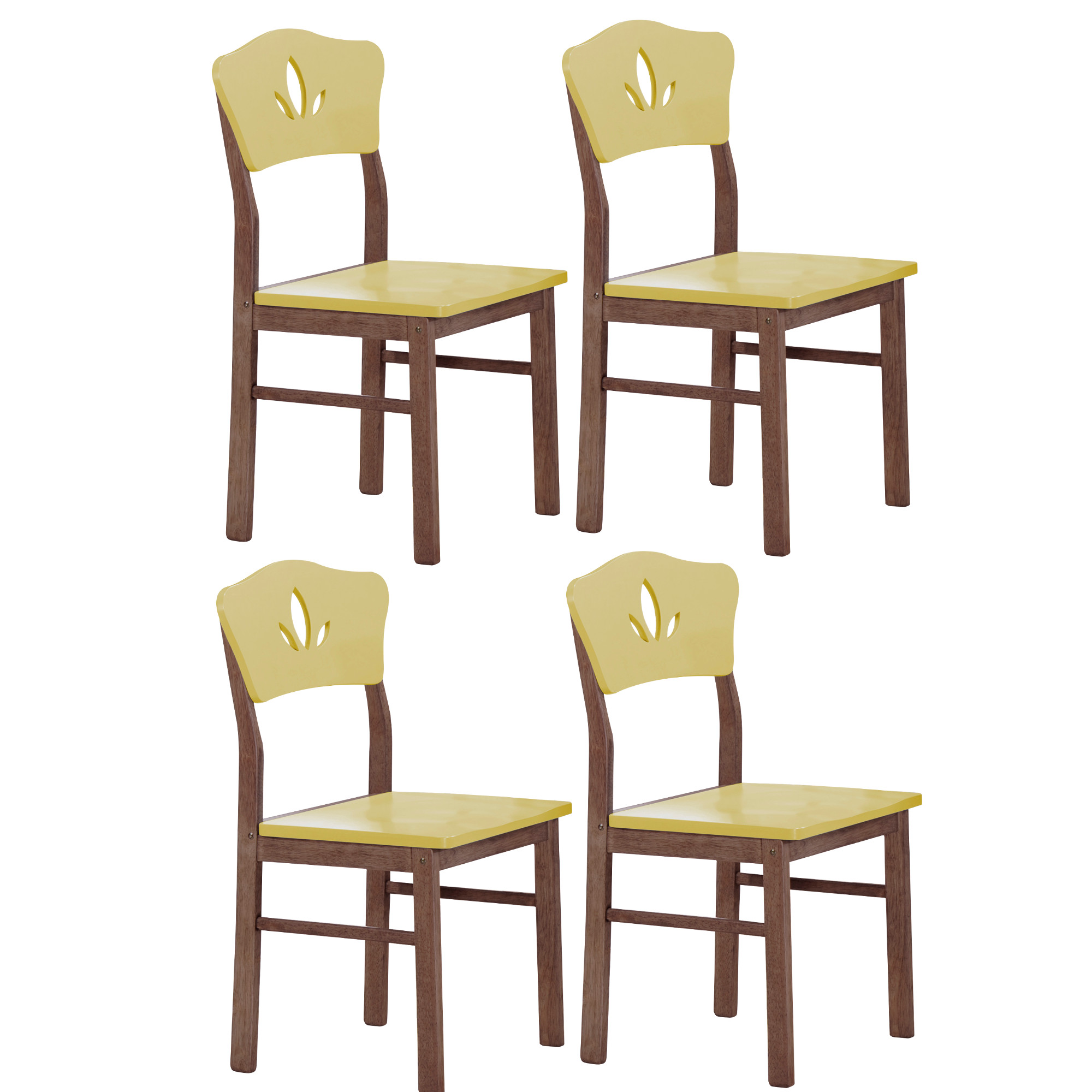 Geter Kitchen Dining Side Chairs. Yellow With Chocolate ...