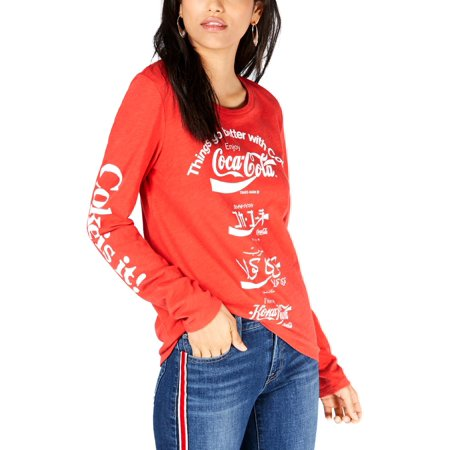 LUCKY BRAND Womens Red Coca Cola Language Graphic Print Long Sleeve Crew Neck T-Shirt Top  Size: M Casual Crew Neck Design