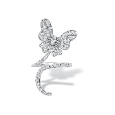 Pear-Cut and Round Cubic Zirconia Butterfly Wraparound Ring 1.27 TCW Platinum-Plated Cut Out Butterfly Ring
