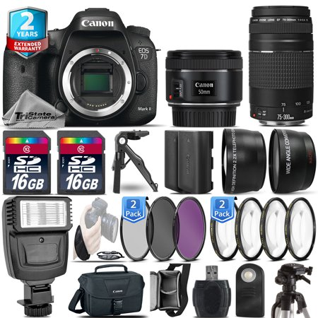 Canon EOS 7D Mark II Camera + 50mm + 75-300 + EXT BAT - 32GB Kit  + 2yr