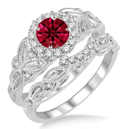 Star Ruby Wedding Set (1.5 Carat Round Cut Real Ruby and Diamond Bridal Wedding Ring Set with Engagement Ring and Wedding Band in 18k Gold Over Silver)