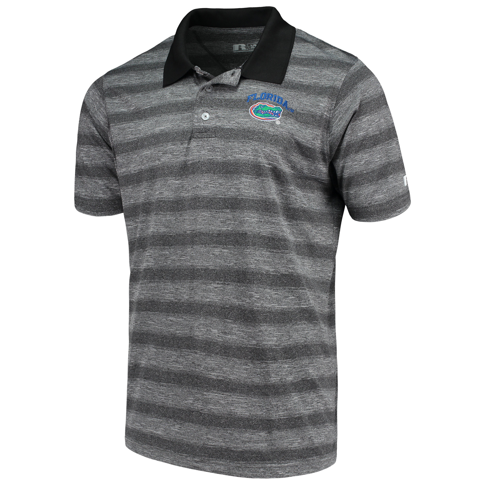 Men's Russell Heathered Black Florida Gators Classic Striped Polo