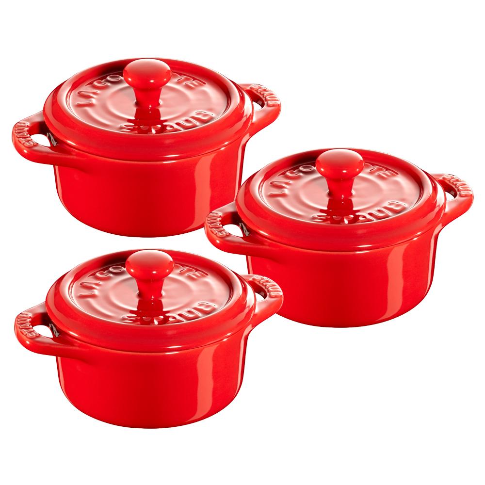 Staub Ceramic 3-pc Mini Round Cocotte Set - Cherry